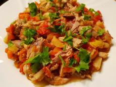 Варен фазан с печени зеленчуци
